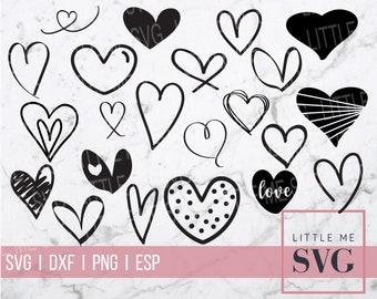 Hand drawn hearts svg, svg bundle, instant download cut files, Handdrawn Clipart Heart Cut File - Heart SVG Bundle