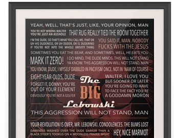 The Big Lebowski Movie Quotes Poster Print | Quoster | Personalized Gift | Wall Art | Trivia | Typography Design | Collectible