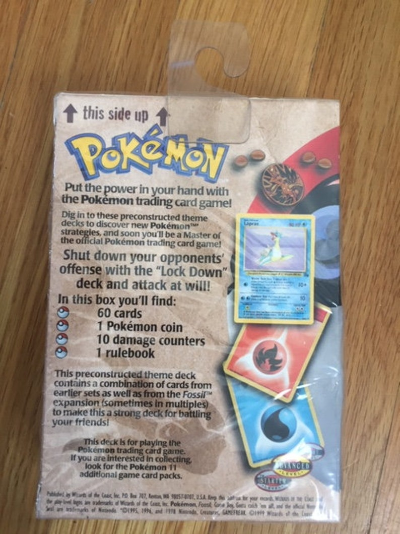 Trading Card Game Pokemon Lockdown Theme Deck Unopened 1999 Fossil Sealed Trading Card Game