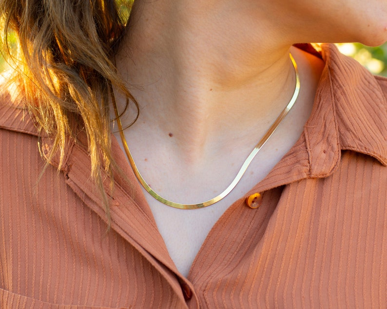 silver herringbone necklace silver snake chain necklace. Gold snake chain necklace Flat snake chain rose gold herringbone necklace