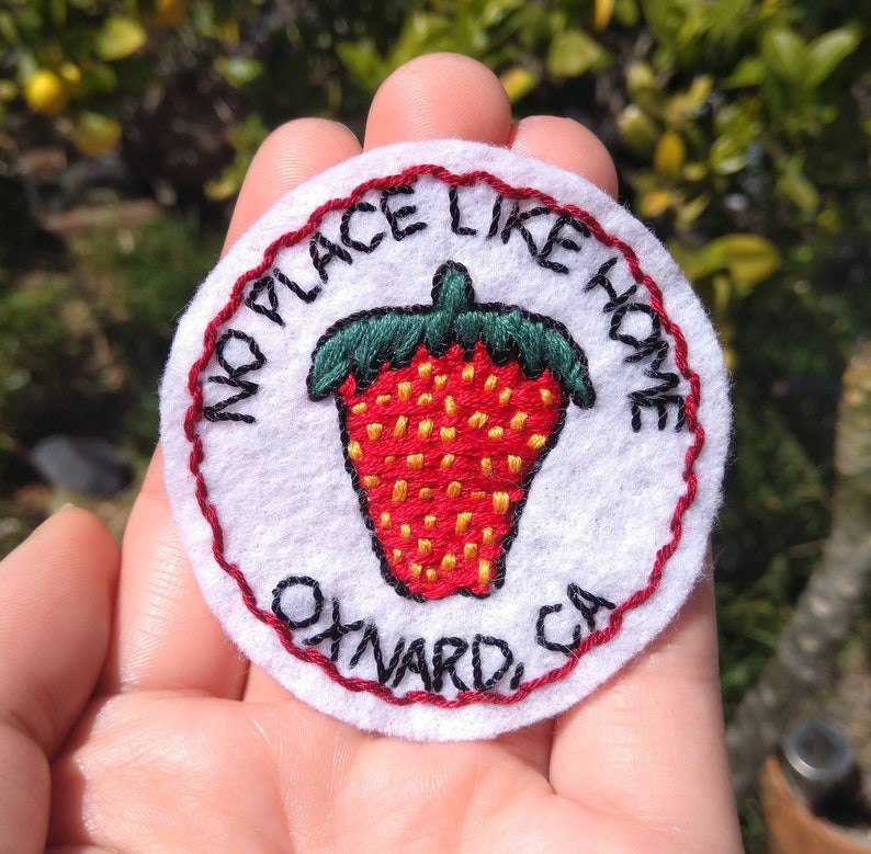 California No Place Like Home Strawberry Hand Embroidered Iron On Patch Oxnard