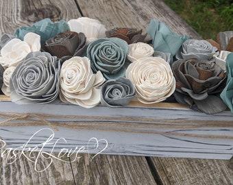 Sola Wood Flower Centerpiece/Blue Shores Wooden Flowers Centerpiece/Flower Arrangement/Farmhouse Centerpiece