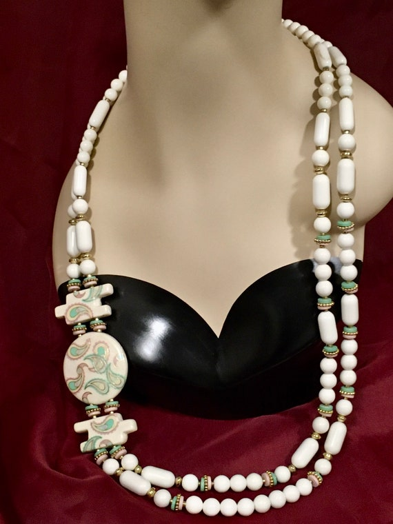 Vintage Necklace & Earring Set, 70's Jewelry, Porc
