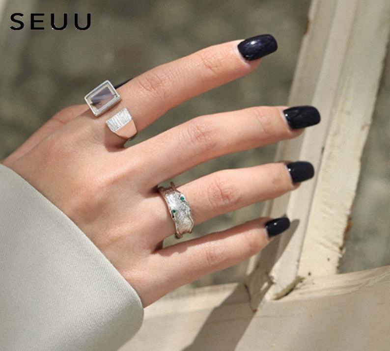 Fashion Ring Textured Ring Jewelry Rings Minimalist ring Irregular Ring Zircon ring Luxury Zircon ring Statement Rings