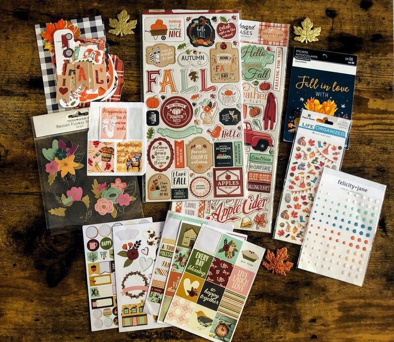 Autumn Journal Supplies in Shades of Orange and Blue