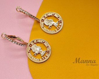 Gold Coin Huggie Earrings Stainless steel Gold plated gift for her