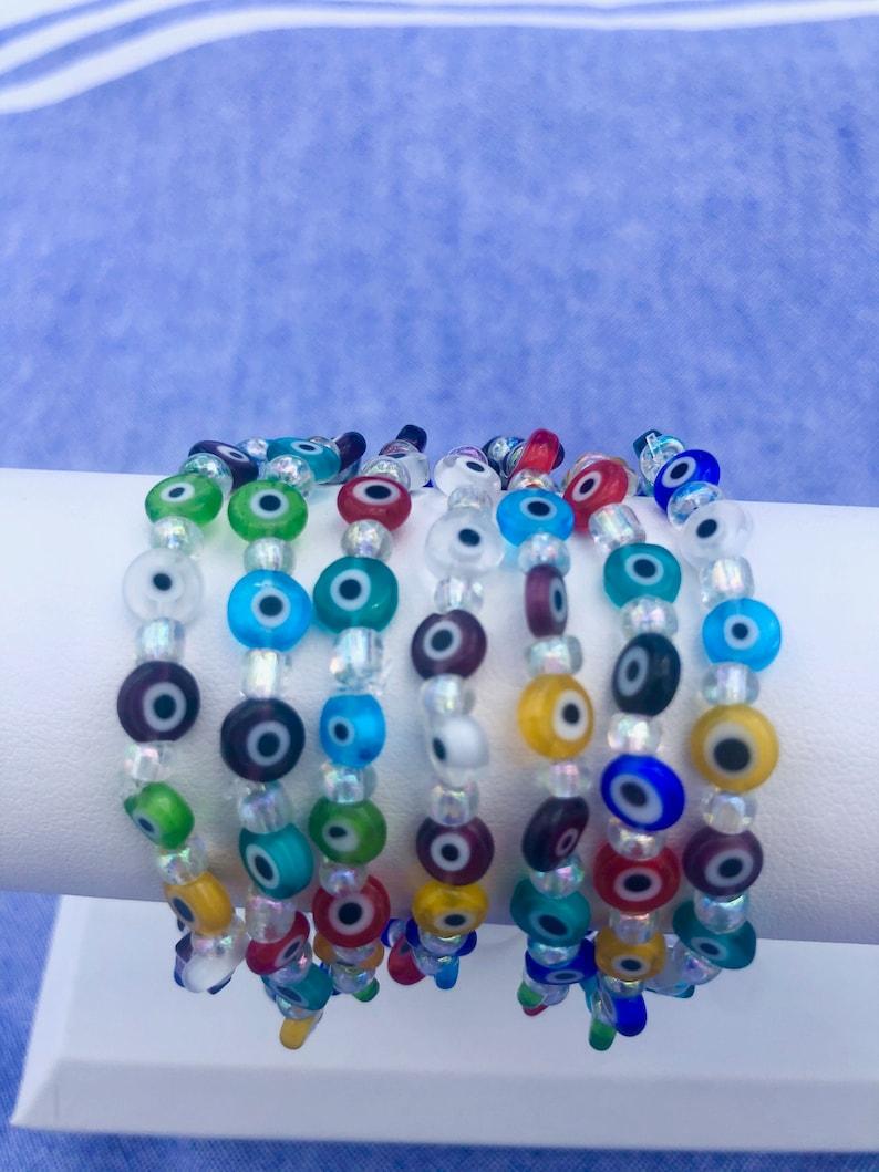 Evil Eye Flat Bead Multi Bracelet with Clear