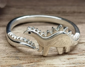 Sterling silver dinosaur ring handmade solid vampire 925 animal punk gothic goth biker, gift for him her personalized
