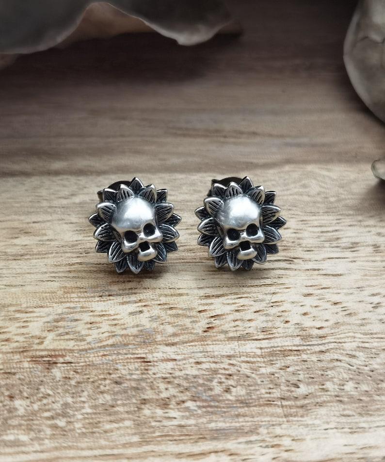 Skull Flower Earrings // Handmade // S925 Silver // Dainty image 0