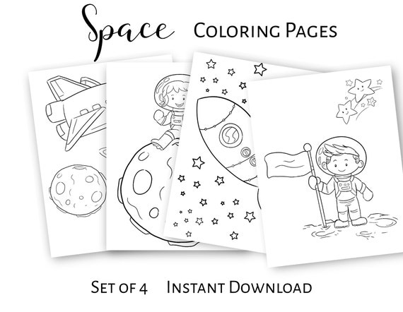 Coloring Pages Printable Instant Download Pdf Space Etsy