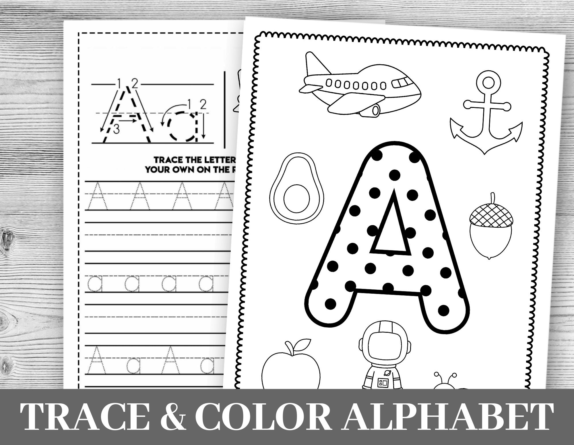 Alphabet Worksheets Printable Tracing Coloring   Etsy