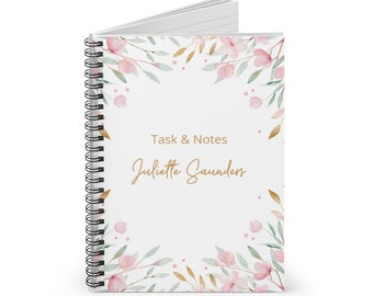 Personalized Task and Notes Spiral Notebook, Notebooks for her, Custom Notebooks, To Do List Notebook, Flowers & Leaves, Minimalist Planner