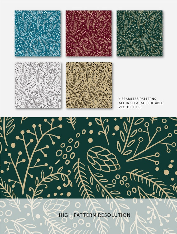 Winter seamless pattern Poinsettia digital background Christmas digital paper Hygge digital print Floral clipart Scandinavian Christmas