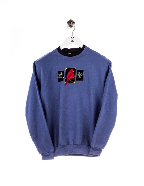 Vintage Top Stitch Cardinal Bird Stick Sweatshirt