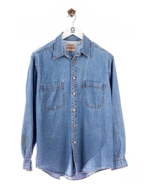 Vintage Levis Double Pocket Denim Shirt Blue
