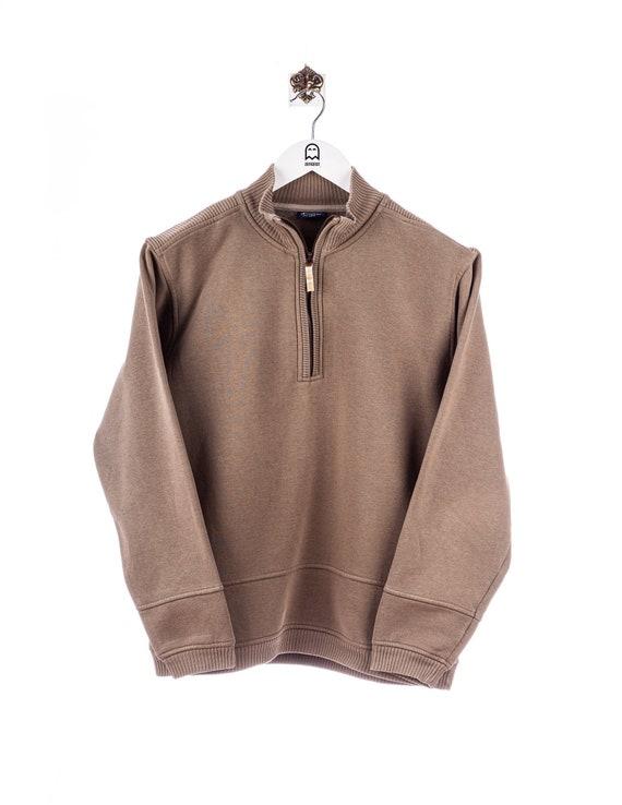 Vintage Champion Half Zip Sweatshirt Khaki