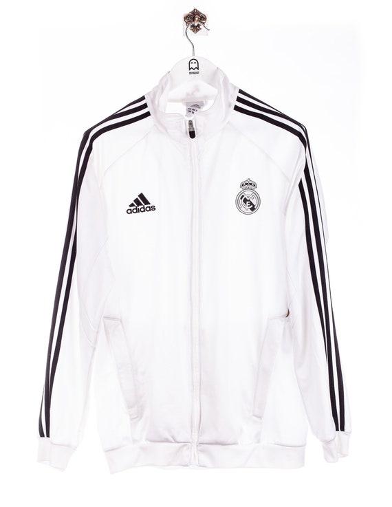 Vintage adidas Real Madrid Print Sweat Jacket Whit