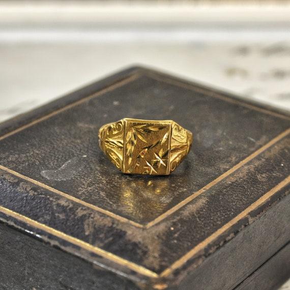 Gentlemen's 22ct Patterned Signet Ring