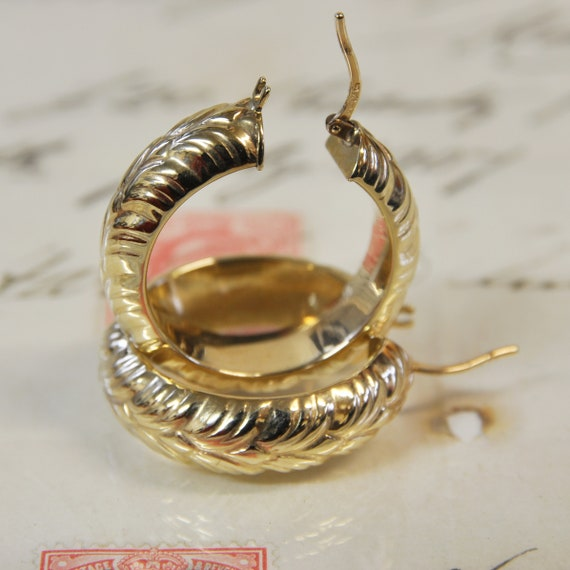 9ct Textured Thick Hollow Hoop Earrings