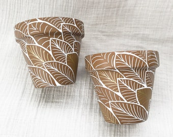 Leaf-FULL Painted Terracotta Pots with Drainage Hole Indoor Planters Clay Pot Handpainted Pots
