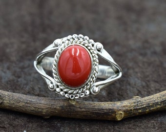 Details about  /Genuine Red Coral  Gemstone Ring Handmade Christmas Gift Ring For Women