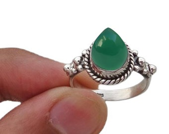 Teardrop Green Onyx Silver Ring, Dainty Ring, Sterling Silver Ring, Ring For Women, Handcrafted Ring, Boho Ring,Rings for Gift,Gemstone Ring