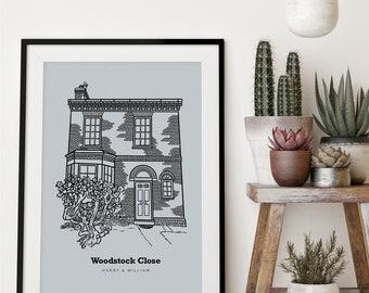 Custom hand-drawn home portrait, Custom house print, Custom house illustration, Custom housewarming gift, New home gift, Custom house art