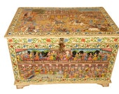 Very Rare box,Hand painted Box,Antique Box,Mughal Indian box,Vintage box,Bone inlay Jewellery box, Cash box, Dowry chest,Money box, Gifts