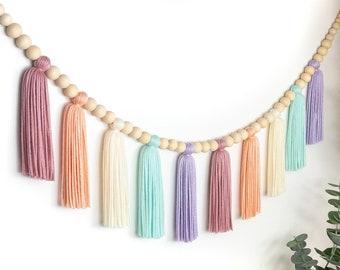 Muted Rainbow | Wood Bead Tassel Garland | Yarn Wall Hanging | Tassel Wall Hanging | Boho Decor | Nursery & Kids Room Decor