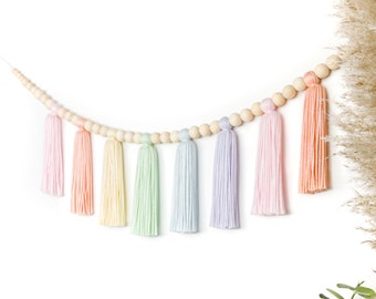 Pastel Rainbow Sherbet | Wood Bead Tassel Garland | Yarn Wall Hanging | Tassel Wall Hanging | Boho Decor | Nursery & Kids Room Decor