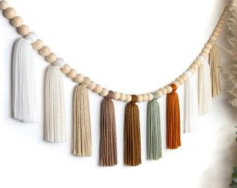 Pumpkin Spice | Wood Bead Tassel Garland | Yarn Wall Hanging | Tassel Wall Hanging | Boho Decor | Nursery & Kids Room Decor | Party Decor