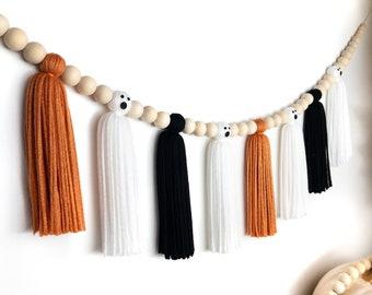 Halloween Ghost Tassel Garland | Halloween Wood Bead Garland | Halloween Tassel Garland | Halloween Decor | Black and Orange Garland
