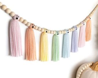Halloween Pastel Rainbow Ghost Garland | Halloween Wood Bead Garland | Halloween Tassel Garland | Halloween Decor | Halloween Indoor Decor