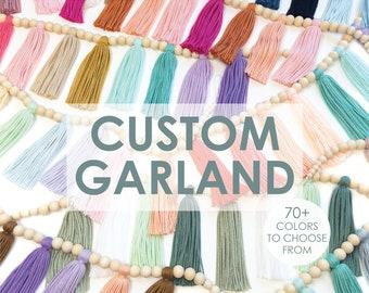 Custom Wood Bead Tassel Garland | Yarn | Baby Room Nursery Decor | Baby Shower Gift | Home Decor | Fiber Art | Boho | Rainbow | Party