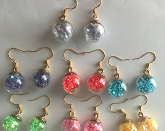 Cute bauble dangle earrings filled with glitter sequences / stars kawaii