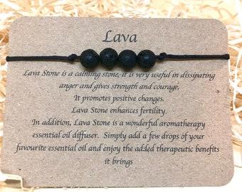 Strength Botswana Agate /& Lava Crystal Bracelet  Valentines Day gift to him