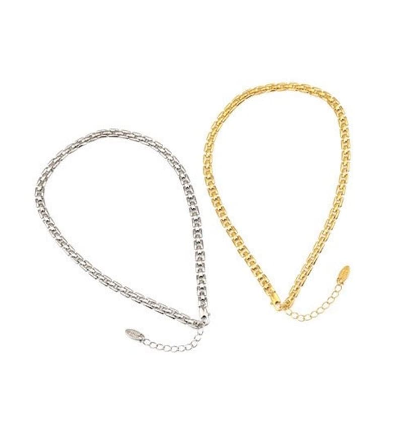 Vintage inspired layered chunky neck chain in Platinum Square Link chain interlocking box chain Gold box Chain chokers necklace bracelet