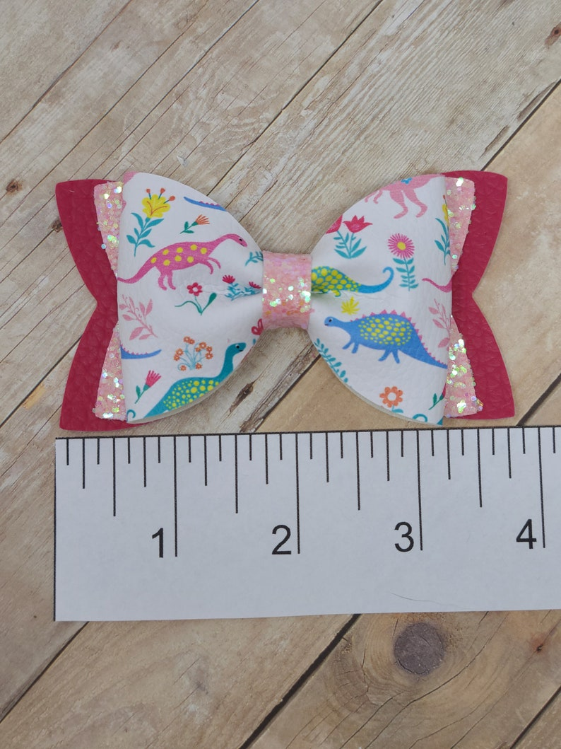 Pink Glitter Headband or Barrette Spring Time Dinosaurs Faux Leather Pinch Bow Dinosaurs and Flowers