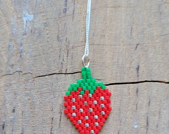 Beaded odemin / strawberry pendant with 18 inch sterling silver chain