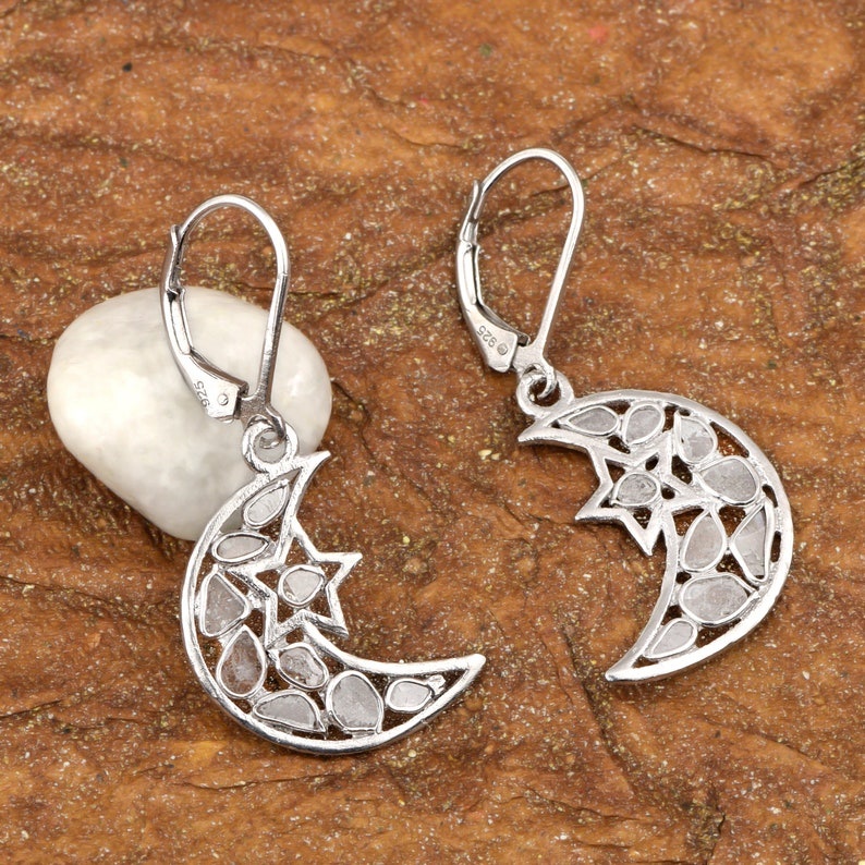 0.75 CTS Natural Polki Uncut Diamond Tiny Star Moon Style Platinum Plated 925 Sterling Silver Dangle Wedding Earrings