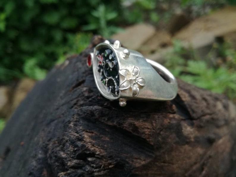 Best Gift Handmade Jewelry Sterling Silver Ring Modern design Cloisonne Enamel Sterling Silver Author\u2019s work