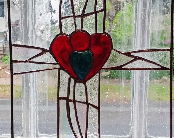 Contemporary Stained Glass Cross and Heart Panel
