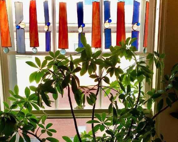 """Boho Stained Glass Window Valance or Curtain- """"Fire and Water"""""""