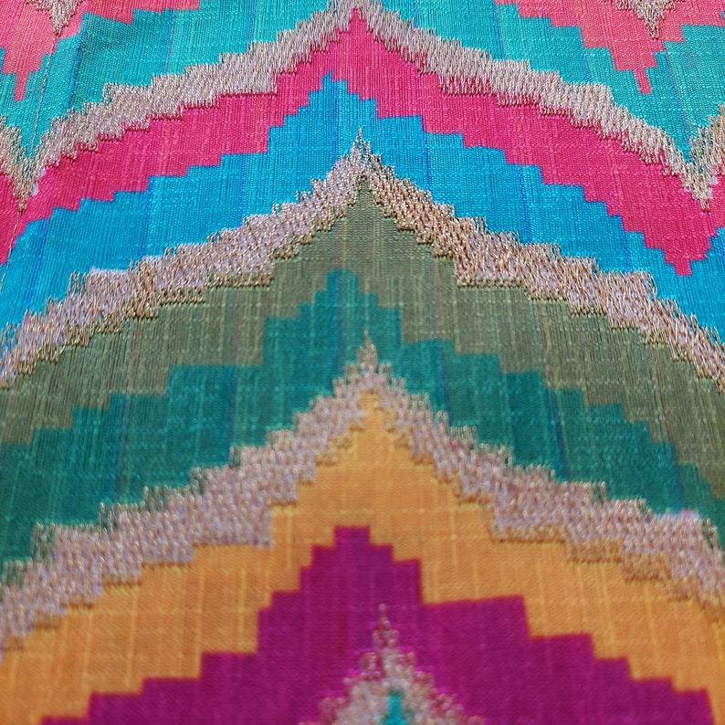 Sewing Carft project Multicolor Position printed wave pattern Embroidery fabric,embroidered art silk Fabric,DIY Bags,costume lehenga Fabric