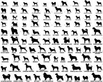 100 Dog Breed Silhouette svg Bundle, Dog Silhouette svg, Dog Silhouette SVG Bundle, Dog File Bundle, Dog svg Bundle, Dog Breeds SVG Cut File