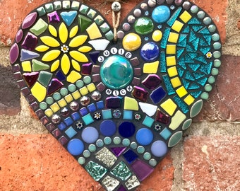 Mosaic personalised heart, engagement gift, unique wedding present, anniversary personalised gift, garden mosaic decor