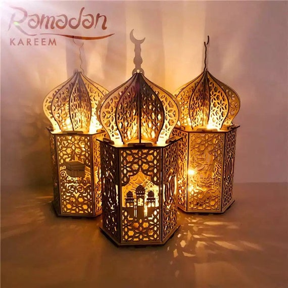 Wooden lamp Lantern style for Ramadan