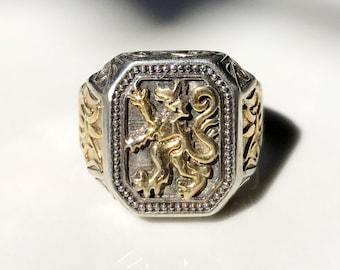 Men/'s Royal Lion Of Judah Ring Heavy Bronze of Ethiopia Rasta Jewelry Jamaica 3D