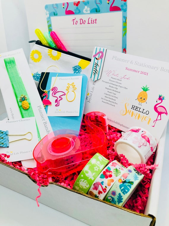 Pineapple & Flamingos Planner Accessories and Stationary Box