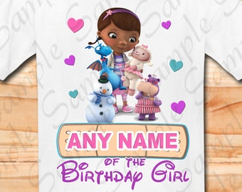 Doc Mcstuffins any name of Birthday Girl Svg INSTANT DOWNLOAD Custom Matching birthday party shirt Iron on transfer Printable cut file DIY